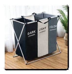 Plegable Dirty Laundry Basket Organizador en forma de X Impreso plegable Tres Red Principal de lavandería Cesto Clasificador de la cesta de lavadero grande T200115