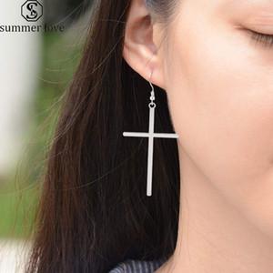 Summer Love Fashion Big Long Cross Earrings Gold Silver Color Dangle Drop Earrings Brincos for Women Jewelry bijoux femmes 2020
