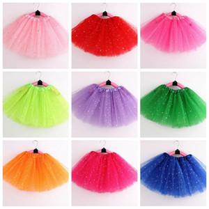 Kızlar Tutu Etek Çocuk Giyim Yıldız Glitter Bale Fancy pettiskirt Pullu Sahne Giyim Kostüm Yaz Tül Prenses Mini Elbise D5803