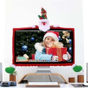 19-27 inç Bilgisayar Monitörü Kapak 3D Noel Bilgisayar Seti TV Televizyon Ekran süslemeler Festivali için Santa Elk Kardan Adam