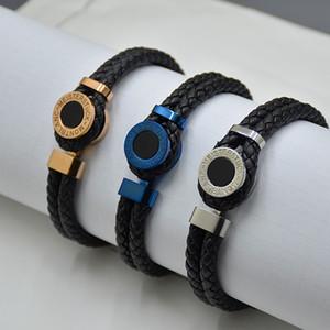 Promozione - Braccialetti di cuoio tessuti neri classici Braccialetti di fascino braccialetti dei monili francesi dell'uomo di marca di branding di MB Pulseira come regalo di compleanno