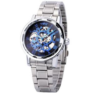 Роскошные высокого качества Мужская мода часы Roman Vintage Digital Ажурные Стекло зеркала ручной механические часы