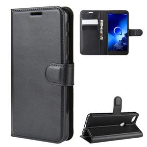 телефон кожаные чехлы личи бумажник чехол Чехол для Alcatel 1S 1C 3 3L 1 1X 1C 3X 3V 3C 7 5044R 2019 2020