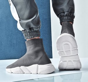 2019 New High Quality Speed Trainer Luxury Men Women Designer Sneakers Black White Blue Platform Trainers Casual Sock shoes Runner blue red