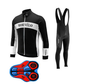 2018 Morvelo team Cycling long Sleeves jersey (bib) pants sets MTB Ropa Ciclismo Quick Dry Compressed Bike Wear Men clothes C304513