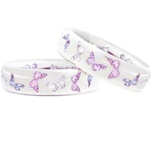 farfalla anello squisito anello zircone colore misto bel anello vento formato della miscela da 5 a 11