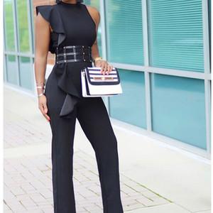 Office Lady Macacões elegante longo preto sem mangas Causal Moda Trabalho de escritório de negócios Jumpsuits macacãozinho 2020 Verão