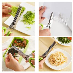 Mutfak Makas Paslanmaz Çelik 5 Katmanlar Bıçak Yeşil Soğan Makas Çok Fonksiyonlu Mutfak Rendelenmiş Bıçaklar Sebze Ot Pişirme Araçları