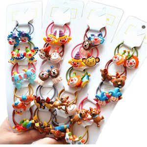 10PCS New Cartoon Cute Clown Princess Headwear Kids Elastic Hair Bands Children Ropes Girls Accessories Baby Headdress