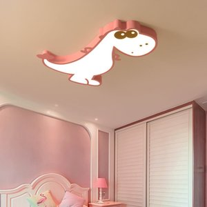 Children's room LED ceiling lights Warm cartoon dinosaur bedroom male and female room lamp eye protection dimming wrought iron lamps