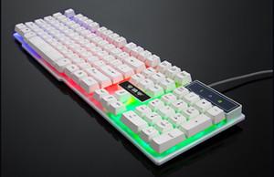 الألعاب السلكية لوحة المفاتيح الشعور الميكانيكية لوحة المفاتيح 104 كيكابس RGB الخلفية لوحة مفاتيح الكمبيوتر ألعاب للكمبيوتر المحمول