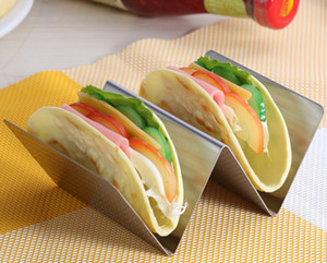 2 X Taco Holder Stand Stainless 2 Grids - Length 13cm
