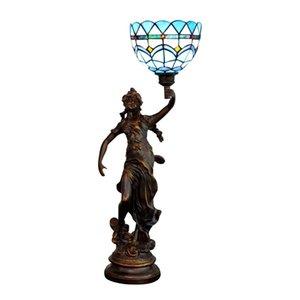 Синий Tiffany Beauty Base Table Lamp Гостиная Спальня Бар Настольная лампа Витраж Настольные лампы TF085
