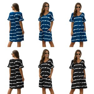Letter Print White Tie-Dyed Casual Dresses For Women Fashion Rock Half Sleeve Loose Everyday Dresses Knee Length Oversized T Shirt Dress #372