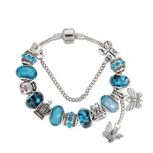 Novo estilo Charm Bracelet 925 Pandor Pulseiras para mulheres pingente de borboleta Bangle Charme coroa Bead como presente DIY jóias com logotipo