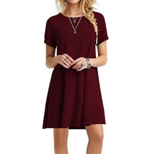 Été solides femmes courtes T-shirt mini-robe dames mode chaud à manches courtes col rond droit de plaine 2018 vestidos