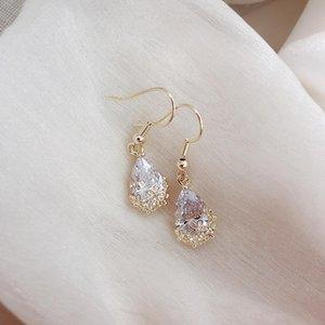 French romantic female drop earrings crystal earrings simple and temperament 2020 new wave of female wild earrings Korea