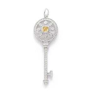 Luxury TIFF S925 Sterling Silver Key colgante colgante con diamantes 100% 925 collares de plata llave de girasol con cadenas de 50 cm