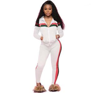 Donne 2pcs Abiti lunghi Sleeve Stripe Donne Tute Casual Panelled Plus Size Abbigliamento Donna cardigan con cappuccio