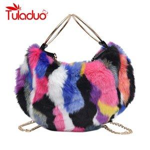 Felpa de imitación de piel bolsos para las mujeres del bolso colorido de embrague de la tarde de lujo bolsos de hombro de las mujeres de la cadena bolsas de asas del diseñador Bolsa