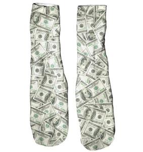 Meias dinheiro Invasion Harajuku Pé mediana tubo Casual alta qualidade Dollar skate 3D Impresso Meias Estilo Algodão Sock