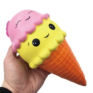 점보 10CM 만화 더블 스마일 페이스 아이스크림 콘 스쿼시 느린 상승 달콤한 향도의 부적 식품 리바운드 빵 아이 장난감