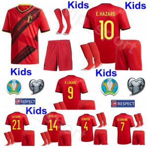 Camisa Bélgica Jóvenes De Bruyne Jersey calcetines de los cabritos determinados fútbol PELIGRO Lukaku MERTENS Benteke Batshuayi Witsel CARRASCO Fútbol Kits Euro 2020