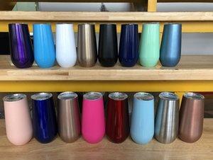6oz Paslanmaz Çelik Şarap Gözlük Vakum Kupa ayaksız şarap kadehleri Yumurta Kabuğu Şekli Şarap Cup Coffee Mug ile Kapak Ücretsiz nakliye
