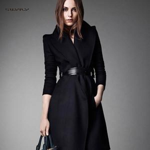 Новая Женская шерстяная куртка Повседневный Long One Button Пряжка пальто Тонкий отворот с шерстяная куртка осенне-зимний Новый пояс