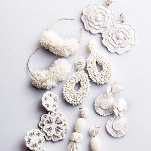 Declaração Dvacaman Branco Big brincos mulheres na moda Beads Flower Tassel franjas Dangle Gota Brincos Handmade brincos atacado