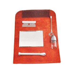 حقيبة أنبوب جلدية مجموعة Sniffer مسحوق جلد الغزال المخاط الأنف مستحضرات التجميل موزع Oklhi