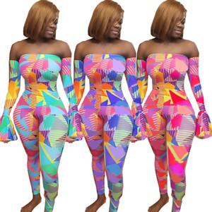 3XL Yeni kadın Gökkuşağı Clothings Geometrik Baskı Ruffles Flare Uzun Kollu BODYCON Jumpsuit Seksi Kulübü Gece Kapalı Omuz Romper tulum