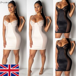 Sexy Women Bandage Mini Dress Lace Floral Female Bodycon Sleeveless Evening Party Club Sheer Mesh Mini Dress