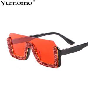 Retro azul meia beira quadrada Sunglasses Diamante Mulheres Orange Gradiente Tinted Cor Lens Oversized Feminino óculos de sol UV400