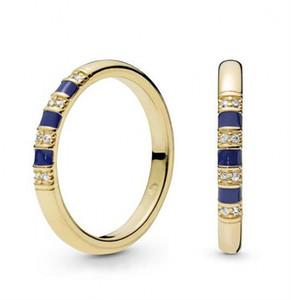 Neue Original 925 Sterling Silber Vergoldet Ring Pflastern Kristall Glanz Exotische Steine Streifen Ring Für Frauen Hochzeit Geschenk Edlen Schmuck