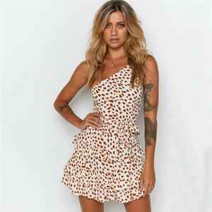 Womens Designer Print Bodycon Dress Sexy One Shoulder Dresses Мода Горошек Пояса Платья Женская Одежда