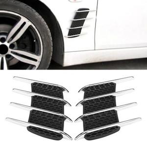 1 Par de Coche Exterior Capilla Lado Flujo de Admisión de Aire Vent Shark Gills Outlet Adhesivo Decorativo Adhesivo Universal Car Styling Sticker