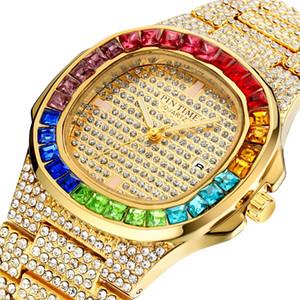 montres para fora congelado colorido diamante Hip Hop Mens relógios de luxo Data Royal Oak Assista Ouro Mulheres Relógios Dia Quartz negócio de relógios pour hommes