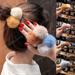 Inverno colorido Bola Fluffy Pom Pom Faixa de Cabelo rabo de cavalo titular das meninas cabelo Ropes Cabelo Acessórios Rubber Band
