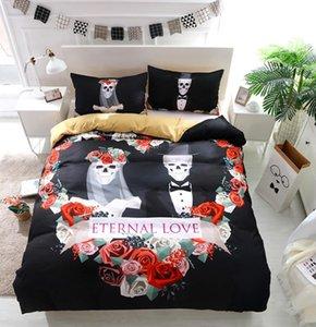 BEST.WENSD Wedding Skull Beddings Duvet Cover Pillow Case USA SIZE bedding set designer bedding luxury housse de couette 220x240