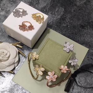 Marke Fashion Party Schmucksachen für Frauen Blumen-Armband-Ring-Schmuck-Set-Korn-Armband Ring Schmuck-Set Goldfarben-Blumen-Armband