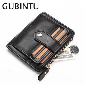 Couro GUBINTU Homens Carteiras Oil Wax Curto Magro Design Cartão Titular bolso Men pequena bolsa de alta qualidade Male carteira
