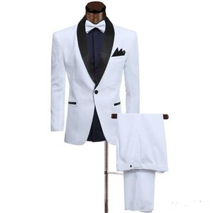 New Custom Slim Fit White Men trajes Trajes Novios de Boda (Chaqueta + Pantalones) Best Man Blazer Prom Wear 466
