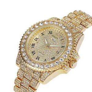 2019 diamante de plata nuevo Rhinestone relojes de cuarzo hacia fuera helado oro Reloj de pulsera clásico de la manera mira el envío libre Pareja