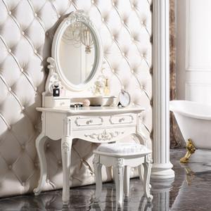 vinaigrette bois miroir coiffeuse moderne combinaison de table de toilette de luxe européenne solide table de salle de bains Meubles de salle de bains