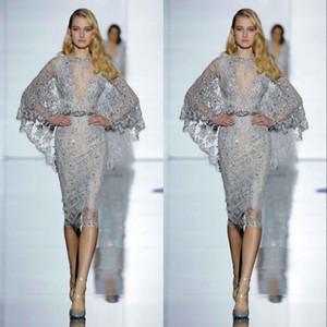 New Ellie Saab Sexy Abendkleider mit Schärpen Transparenter Tüll Cocktailparty-Kleid knielangen Appliques Tiered Röcke Abend Promi-Kleider