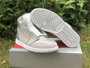 2020 Shoes Authentic 1 High OG Japão 2001 2020 CO.JP Mens Basketball Neutral Grey Branco Prata metálica 1S Sports Sneakers com caixa