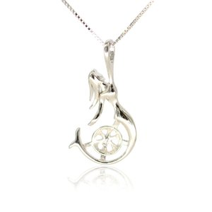 Whloesale S925 sterling silver Pendant ridtings حورية البحر rendtings for women pearl jewely diy free shipping
