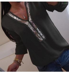 Langarm-reine Farbe mit V-Ausschnitt Frauen Tops Frauen Designer Panelled Blusen Frühling Paillette lose Damen-T-Shirts