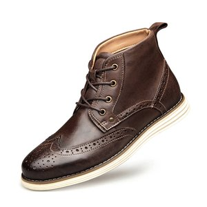 2020 Männer formalen Geschäfts-Kleid-Schuh-Retro Top-Qualität Männer beiläufiges echtes Leder Brogue Hochzeit Loafers Big Size